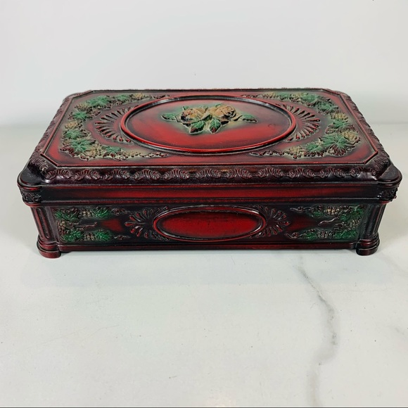 Vtg Celluloid Red 3D Roses Jewelry Trinket Box